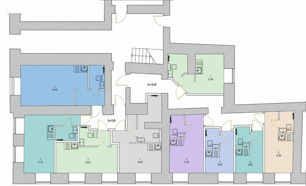 Планировки студий на набережной л-та Шмидта 35